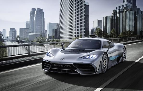 Картинка машина, город, здания, Mercedes-Benz, гиперкар, Mercedes-AMG, Project ONE