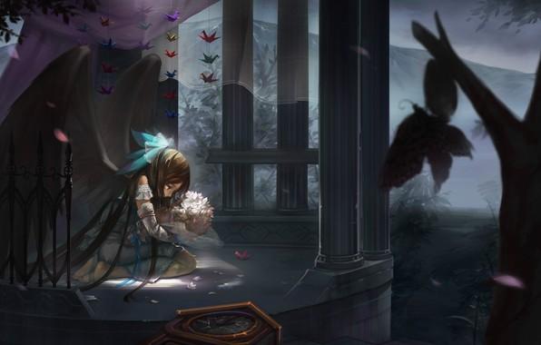 Картинка одиночество, колонны, скорбь, мотыльки, Reiuji Utsuho, бумажные журавлики, черные крылья, Touhou Project, Проект Восток, туман …