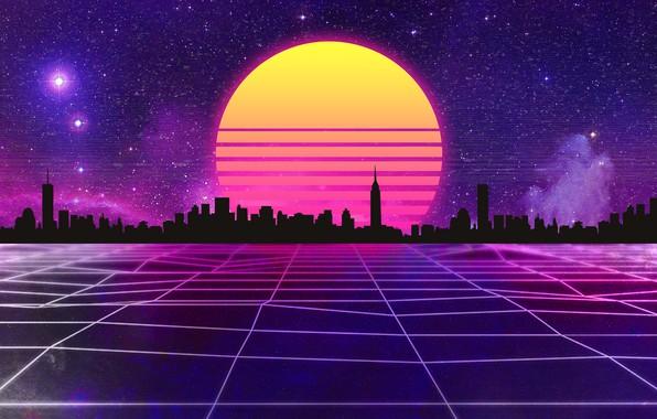 Картинка Солнце, Музыка, Город, Звезды, Космос, Фон, 80s, Neon, 80's, Synth, Retrowave, Synthwave, New Retro Wave, …