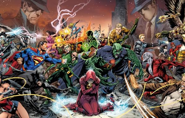 Картинка fantasy, Wonder Woman, Batman, fight, comics, Superman, battle, artwork, mask, superheroes, costume, fantasy art, Green …