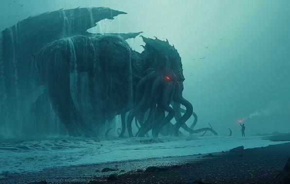 Картинка Ктулху, Cthulhu, sea, behemoth, tide, Andree Wallin