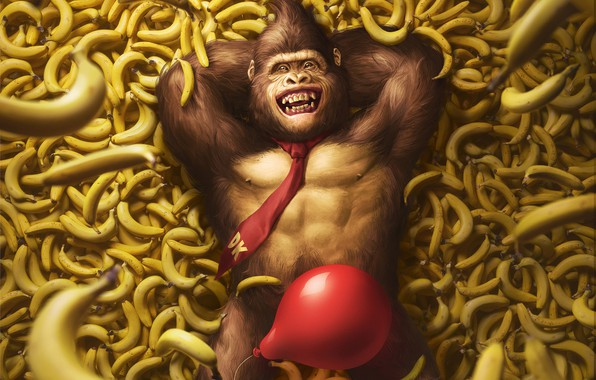 Картинка Игра, Шарик, Бананы, Арт, Art, Nintendo, Illustration, Donkey Kong, Characters, Monkey, Banana, Balloon, Gorilla, Горилла, ...