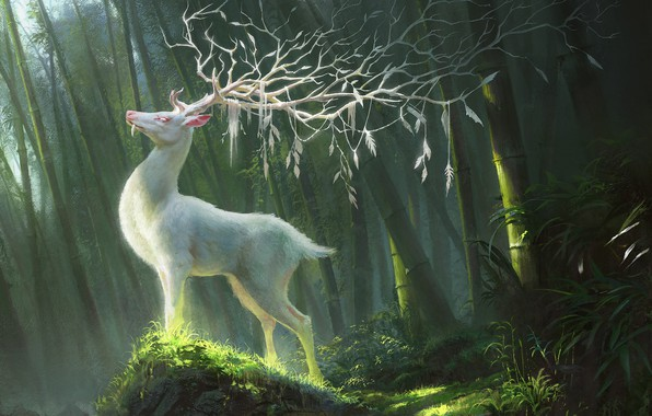 Картинка fantasy, forest, horns, animal, digital art, artwork, branches, fantasy art, creature, illustration, Deer, white deer