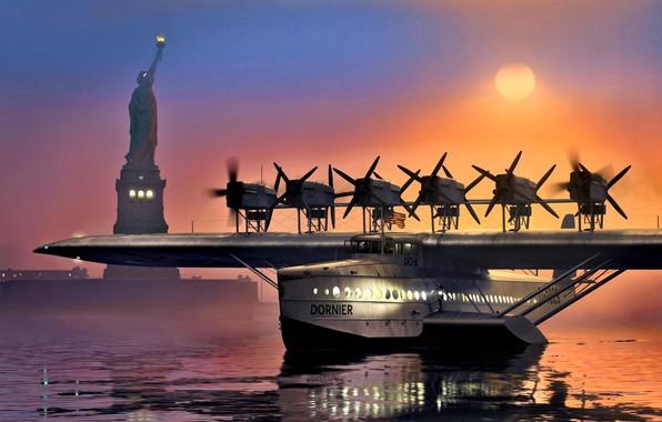Картинка Dornier, Немецкая, Люфтганза, летающая лодка, пассажирская, Do X