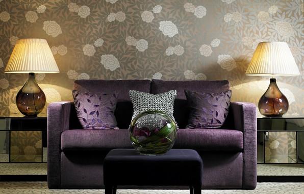Картинка диван, мебель, лампа, интерьер