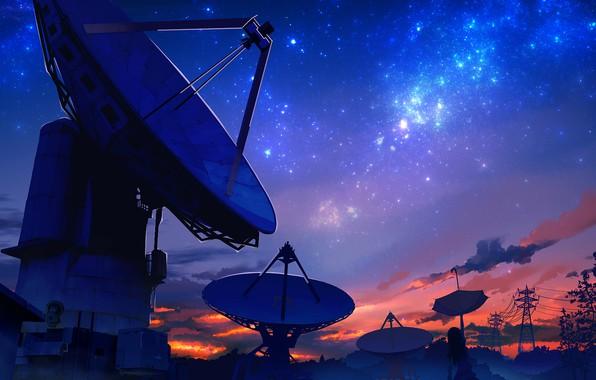 Картинка небо, девушка, зонтик, smile, Радиоинтерферометр