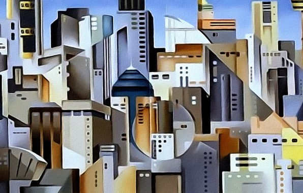 Картинка абстракция, город, рисунок, дома, картинка