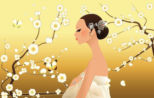 Картинка украшения, бабочка, красота, butterfly, beauty, девушка в белом, jewelry, flowering trees, girl in white, цветущие …