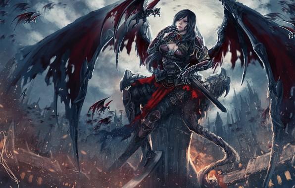 Картинка dark, sword, fantasy, Dark Angel, armor, weapon, wings, blue eyes, angel, castle, artwork, warrior, fantasy …