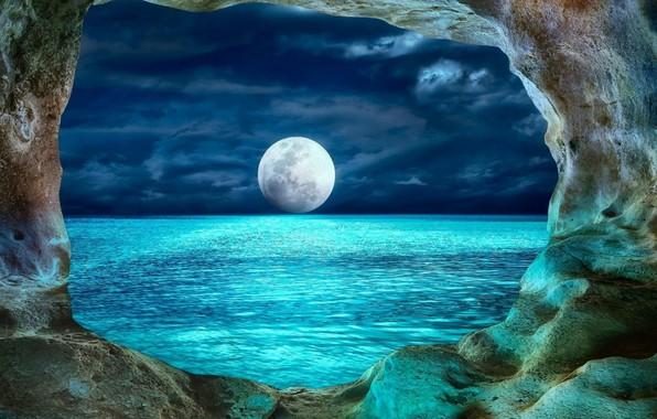 Картинка пейзаж, ночь, океан, луна, пещера, moon, ocean, landscape, water, night, Болгария, cave, Bulgaria