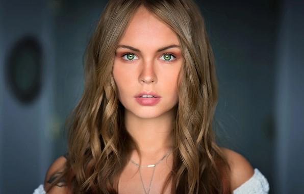 Картинка взгляд, модель, портрет, макияж, прическа, шатенка, красотка, боке, Анастасия Щеглова, Mark Prinz, Anastasia Scheglova