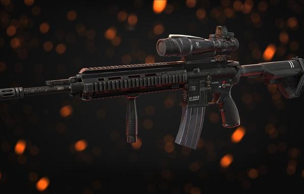 Картинка рендеринг, оружие, автомат, gun, weapon, render, Штурмовая винтовка, assault Rifle, HK 416, Heckler & Koch, …