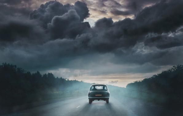 Картинка шторм, путь, фотография, арт, искусство, старая машина, the devil's chariot