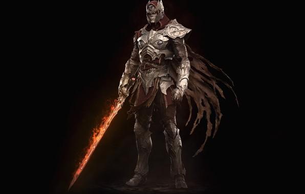 Картинка огонь, меч, доспехи, нежить, Mega Man in Dark Souls, Keos Masons, Ashen Zero