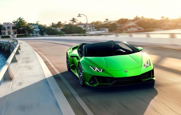Картинка дорога, машина, небо, скорость, Lamborghini, спорткар, Spyder, Evo, Huracan