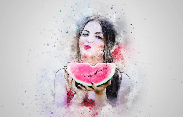 Картинка фон, рисунок, арбуз, ломоть, девушка art