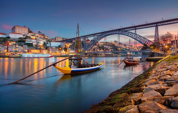 Картинка мост, река, лодки, Португалия, Portugal, Vila Nova de Gaia, Porto, Порту, река Дуэро, Вила-Нова-ди-Гая, Douro ...