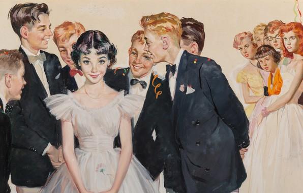 Картинка 1953, День рождения, American painter and illustrator, gouache on board, Birthday Party, Ernest Chiriacka, американский …