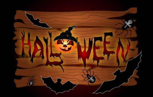 Картинка пауки, тыква, Хеллоуин, летучие мыши, 31 октября