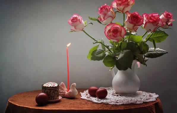 Картинка цветы, стол, праздник, голубь, розы, свеча, яйца, Пасха, кувшин, натюрморт, кулич, подсвечник, салфетка, фигурка, крашенки, …