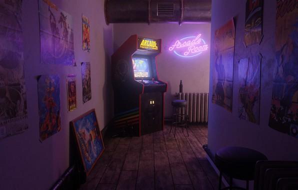 Картинка Неон, Ретро, Коридор, Arcade, Игровой автомат, Ferhat Tanman, A scene from the past., Arcade Fighter's ...