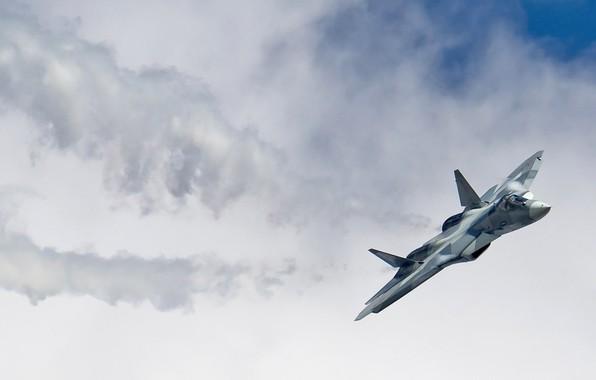 Картинка ПАК-ФА, ВКС России, Су-57, самолёт пятого поколения
