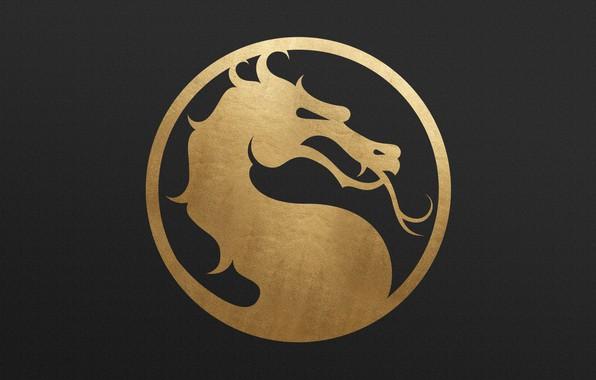 Картинка logo, gold, dragon, metall, Mortal Kombat 11