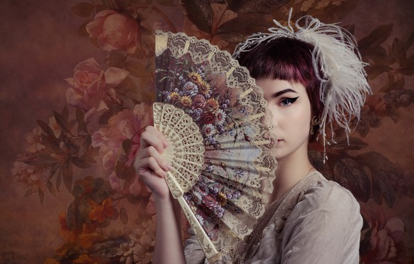 Картинка девушка, веер, Emma Annebel Albers