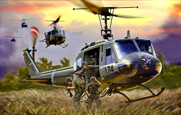Картинка М16, Вертолёт, US Army, Десант, M60, UH-1D, Cолдаты, Война во Вьетнаме