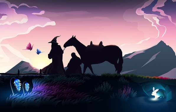 Картинка colorful, fantasy, hat, rabbit, art, mountains, sunrise, The Lord of the Rings, horse, digital art, …