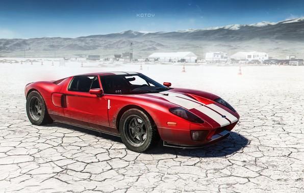 Картинка Ford, Красный, Авто, Игра, Машина, Ford GT, Art, Суперкар, Game, Спорткар, The Crew, Game Art, …