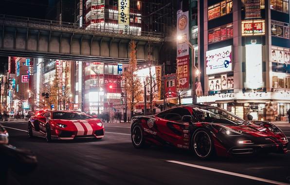 Картинка гонка, Lamborghini, Токио, Tokyo, Aventador, McLaren F1, Gran Turismo