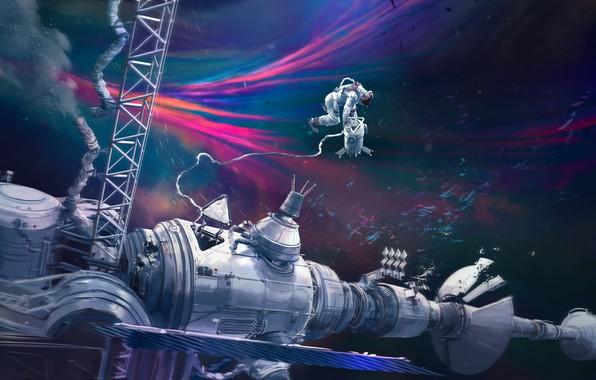 Картинка Станция, Космос, Астронавт, Космонавт, Арт, Space, Art, Concept Art, Vehicles, Science Fiction, Astronaut, Transport, Thomas …