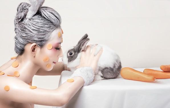 Картинка девушка, морковка, кролик