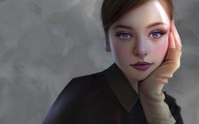 Картинка взгляд, девушка, портрет, макияж, Huy Ozuno