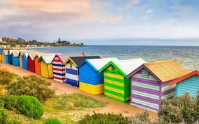 Картинка море, Австралия, Мельбурн, пляжный домик, Брайтон-Бич