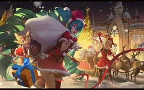 Картинка замок, vocaloid, олени, Hatsune Miku, Kagamine Rin, мешок с подарками, новогодняя ёлка, сани Санты, Tinker …