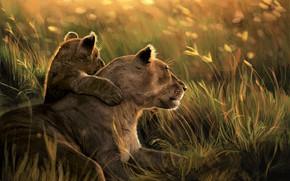 Картинка Природа, Арт, Львы