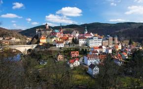 Картинка деревья, мост, река, здания, дома, Чехия, панорама, Карловы Вары, Czech Republic, Karlovy Vary, Loket Castle, …