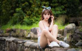 Картинка девушка, ножки, азиатка, сидит