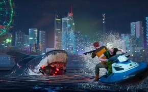 Картинка вода, ночь, город, люди, акула, Maneater
