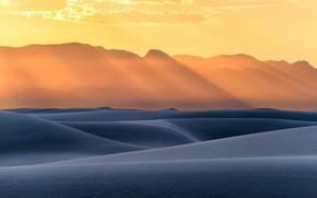 Картинка USA, desert, landscape, nature, sunset, sand, New Mexico, sun rays, dunes, United States Of America, ...