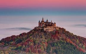 Картинка осень, Германия, Баден-Вюртемберг, замок Гогенцоллерн, вид с горы Целлер Хорн