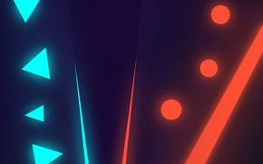 Картинка линии, круги, треугольники, неон, red vs blue, фиолетовый градиент, синий неон, красный и синий неон, …