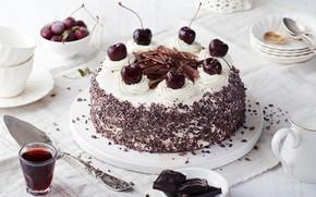 Картинка вишня, шоколад, торт