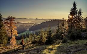 Картинка осень, солнце, лучи, пейзаж, горы, природа, туман, Альпы, леса, турист