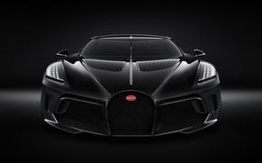 Картинка машина, фары, Bugatti, стильный, гиперкар, решётка радиатора, La Voiture Noire