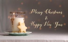 Картинка стакан, фон, праздник, надпись, печенье, Рождество, Новый год, напиток, боке, новогодние украшения, новогодние декорации