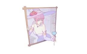 Картинка девушка, роза, минимализм, шляпа, рамка