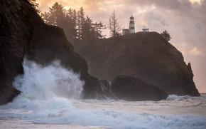 Картинка море, облака, деревья, брызги, скалы, берег, маяк, прибой, Вашингтон, США, Cape Disappointment State Park
